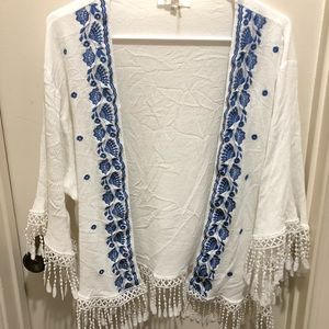 Kimono with Blue Embroidery and Tassels